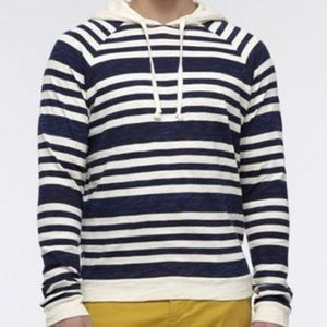 Vince cotton blue striped drawstring hoodie Small